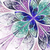 Beautiful fractal flower in blue, violet and green. Computer gen Stock Photography