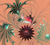 Beautiful fractal flower in brown and green on beige background. Royalty Free Stock Images