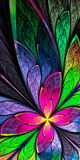 Beautiful fractal flower or butterfly in stained glass window st Stock Photo