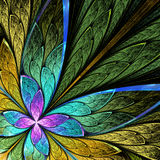 Beautiful fractal flower or butterfly in stained glass window st Stock Photos