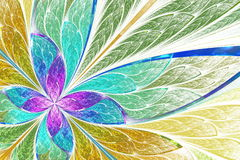 Beautiful fractal flower or butterfly in stained glass window st Stock Photography