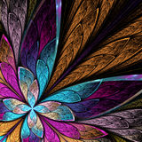 Beautiful fractal flower or butterfly in stained glass window st Royalty Free Stock Photos