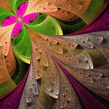 Beautiful fractal flower in green and pink. Stock Photography