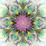 Beautiful Fractal Flower In Gray, Purple And Green. Computer Gen Royalty Free Stock Photography
