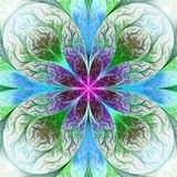 Beautiful fractal flower in pink, blue and green. Computer gener Stock Image