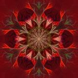 Beautiful fractal flower in purple, claret and red. Computer gen. Erated graphics Royalty Free Stock Photos