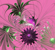 Beautiful fractal flower in violet and green on pink background. Stock Photos
