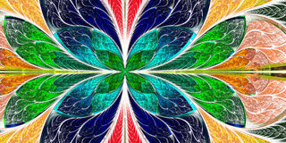 Beautiful fractal pattern in stained-glass window style. You can. Use it for invitations, notebook covers, phone case, postcards, cards, wallpapers and so on Stock Image