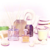 Beautiful, fragrant handmade soap, aromatic oil, candle, stack o Royalty Free Stock Photography