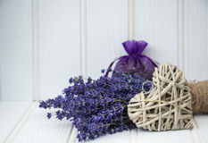 Beautiful fragrant lavender bunch in rustic home styled setting Royalty Free Stock Images