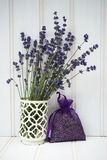 Beautiful fragrant lavender bunch in rustic home styled setting Royalty Free Stock Photos