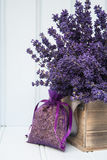 Beautiful fragrant lavender bunch in rustic home styled setting Royalty Free Stock Image