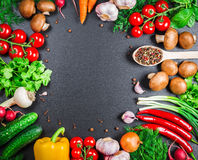 Beautiful frame of different vegetables and spices Stock Photo