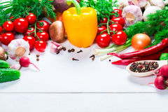 Beautiful frame of different vegetables and spices on the white boards with free space for you text Stock Images