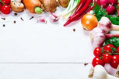 Beautiful frame of different vegetables and spices Royalty Free Stock Photos