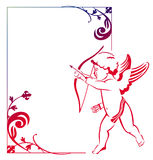 Beautiful  frame with a flying Cupid Royalty Free Stock Photography
