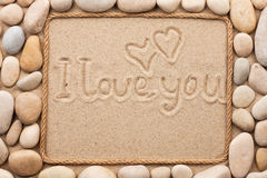 Free Beautiful Frame Made Of Rope And  Sea Shells On The Sand With Te Stock Images - 51975424