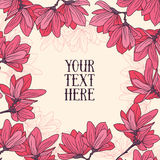 Beautiful frame with magnolia flowers in hand drawn style. Vector illustration Stock Photography