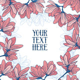 Beautiful frame with magnolia flowers in hand drawn style. Vector illustration Stock Photo