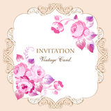 Beautiful frame with pink roses in vintage style. For wedding ca Royalty Free Stock Images