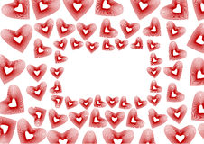 Beautiful frame with red hearts Royalty Free Stock Photography