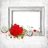 Beautiful frame with red roses Stock Photos