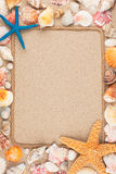 Beautiful frame of rope and seashells on the sand Royalty Free Stock Photos