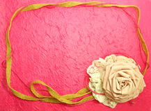 Beautiful Frame Of Rose Fabric Handmade Decoration On Pink Background Royalty Free Stock Photo