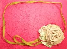 Beautiful Frame Of Rose Fabric Handmade Decoration On Pink Background. Frame Of Rose Fabric Handmade Decoration Royalty Free Stock Photo