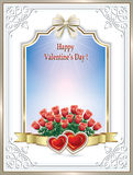 Beautiful frame with roses and hearts on Valentine's Day Stock Photo