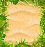 Beautiful Frame with Sandy Texture and Exotic Plants Royalty Free Stock Image