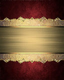 Beautiful frame with scuffed edges and pattern on red background. Element for design. Template for design. copy space for ad broch Royalty Free Stock Photography