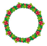 Beautiful frame in shape of wreath with clover and bows Stock Image