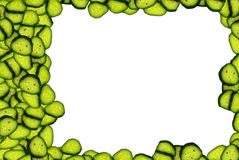 Beautiful frame from slices of fresh cucumber Royalty Free Stock Photography