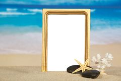Beautiful frame, starfish, coral and pebble Stock Images