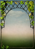 Beautiful frame with vines and birds Stock Photo