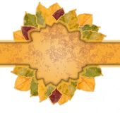 Beautiful frame of yellow and orange autumn leaves Royalty Free Stock Photography