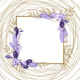 Beautiful frame for your text from painted flowers vector illustration