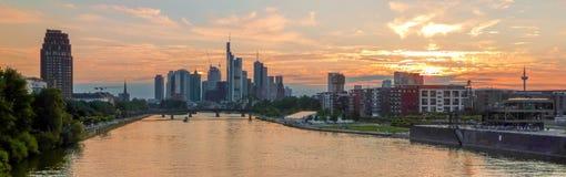 Beautiful Frankfurt am Main skyline at sunset, Germany Royalty Free Stock Photos
