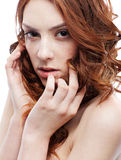 Beautiful freckled girl Royalty Free Stock Images