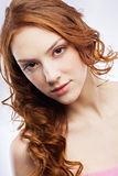 Beautiful freckled girl Stock Photo