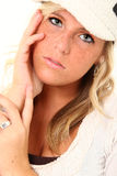 Beautiful Freckles. Beautiful young woman with freckles and blond hair over white stock photos