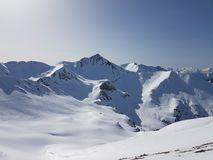 Beautiful French Alps white snow skiing nature enjoy, look March Royalty Free Stock Image