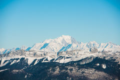 Beautiful french alps winter panoramic view landscape with Mont Blanc landmark peak in the background Stock Image