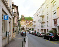 Beautiful French building on Victor hugo street in central Aix-L Royalty Free Stock Image