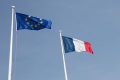 Beautiful French Flag an european blowing Royalty Free Stock Photography