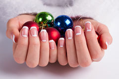 Beautiful french lunar manicure. Royalty Free Stock Photography