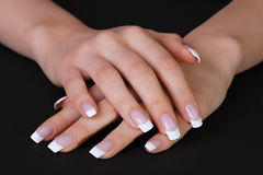 Beautiful french manicure Royalty Free Stock Photography