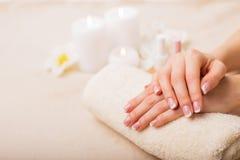Beautiful French manicure royalty free stock photo