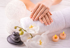 Beautiful french manicure with white orchid Royalty Free Stock Images